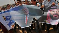 Palestinians in Gaza protest against Saudi Crown Prince Mohammed bin Salman, Donald Trump and Israel (April 2018)