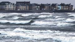 Strong waves at Ardrossan, Ayrshire, ahead of the arrival of Storm Barbara on 23 December 2016