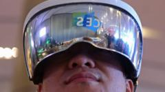 Man wearing headset at CES show