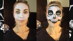 Before and after picture of skeleton make-up.