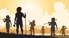 Shadows of stone age people