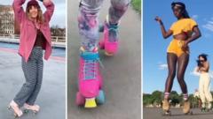 People wearing roller skates