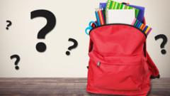 Schoolbag surrounded by question marks