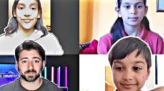 British Indian children on a zoom call with Newsround's Ricky Boleto.