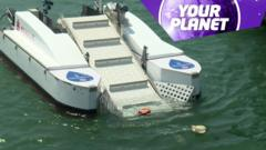 A boat and the your planet logo