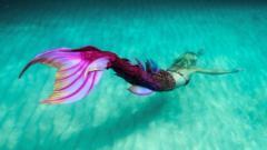 'Mermaid' swimming underwater