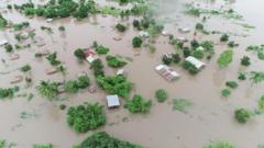 Aerial photos show the far-reaching extent of the flooding, destroying crops, homes and live