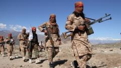 Taliban fighters - the group is fighting to regain control of Afghanistan
