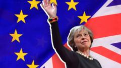 Theresa May against the EU and UK flags