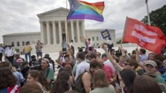 Crowds gather outside US Supreme Court