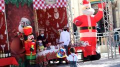 A Christmas market in Manger Square, in Bethlehem, in the occupied West Bank (20 December 2020)