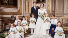 Princess Eugenie and Jack Brooksbank with their pageboys and bridesmaids in the White Drawing Room with , Windsor Castle.