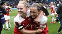 Arsenal women celebrate winning the WSL title at the Amex in Brighton