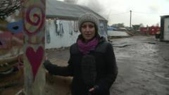 BBC reporter Anna Holligan at the Calais migrant camp