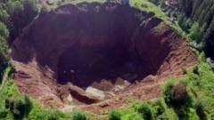 Sinkhole in Solikamsk, Russia