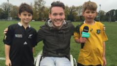 Martin with two rugby fans