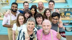 This year's contestants gathered together in the bake off tent