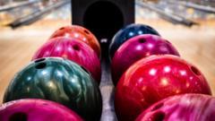Bowling balls at an alley