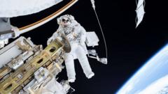 Astronaut takes a spacewalk