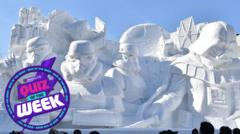 Snow sculptures of Stormtroopers from Star Wars