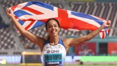 Katarina holding flag