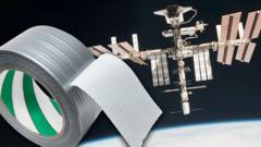 Tape floating next to the ISS