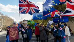 Pro-EU supporters protest outside the Houses of Parliament in London as they campaign to stop Brexit and demand a People's Vote on EU membership on 11 March, 2019. Tomorrow the second 'meaningful vote' will take place in the House of Commons on the Prime Minister Theresa May's Brexit deal.