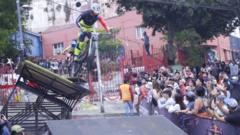 Mountain biker going over a jump in Valparaíso, Chile