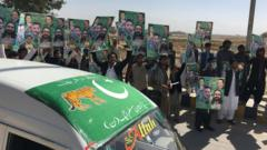 Supporters of opposition political party Pakistan Muslim League Nawaz (PMLN), part of an alliance of major opposition political parties, Pakistan Democratic Movement (PDM),
