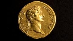 A rare gold coin bearing the image of the first Roman emperor, Augustus.