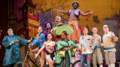 The cast of Aladdin pose during a photocall for Hackney Empire's 20th Anniversary pantomime