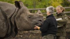 Greater One Horned Rhino Samir and his keeper