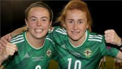 Northern Ireland's Simone Magill and Rachel Furness