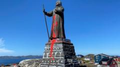 Hans Egede statue vandalised in Nuuk, 21 Jun 20