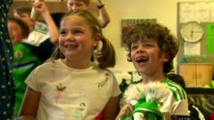 Kids in Belfast react to Northern Ireland's Euro 2016 match win