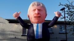 inflatable of Boris Johnson
