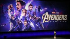 A large poster for Avengers showing all the cast in hero poses