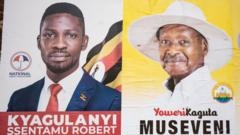 Posters of Bobi Wine and Yoweri Museveni