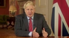Boris Johnson giving his address