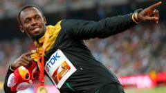 Usain Bolt of Jamaica, gold medal, reacts as he poses on the podium after the men's 200 metres event during the 15th IAAF World Championships at the National Stadium in Beijing, China, August 28, 2015.
