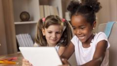 kids watching tablet