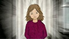 A cartoon image of a girl with brown hair and brown eyes, wearing a red hoodie, looks down.