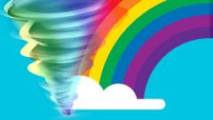 Image of a whirlwind and a rainbow