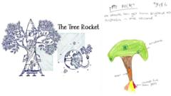 A hand drawn picture of a Tree Rocket