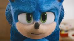 close up shot of sonic the hedgehog in new trailer