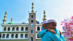 Muslim boys celebrating the Eid-al-Fitr festival in Kolkata
