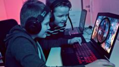 Children playing computer game
