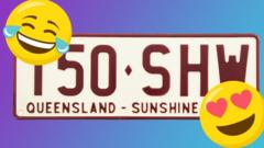 Queensland number plate with emojis