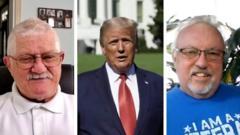 Composite image of Covid survivors Glenn Perkins and Matt Thomas with Donald Trump