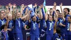 Chelsea lift the WSL title trophy